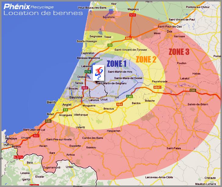 Zone d'intervention pour la location de bennes   Phenix Recyclage